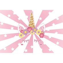 Laeacco Unicorn Flowers Star Dreamy Stripe Baby Shower Cartoon Scene Photographic Backgrounds Photography Photo Backdrops Studio