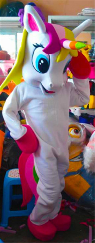 Nouveau costume de mascotte de licorne Costume de mascotte de cheval volant costume de fantaisie de poney arc-en-ciel pour adulte Animal fête d'halloween