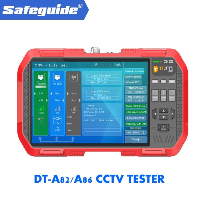 2019 DT-A82/a86 h.265 4 k rede hd ip tvi cvi ahd cvbs cctv câmera tester monitor + tdr cabo teste multímetro medidor de potência a laser
