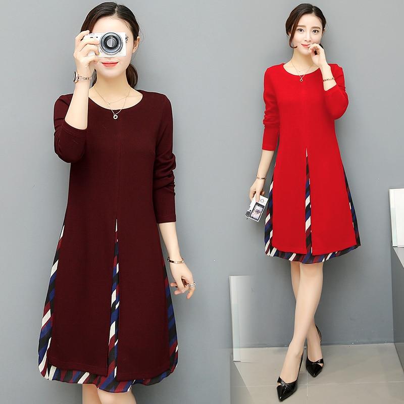 2017 Spring New Fake Two Splicing Dress Printed Long Korean Fashion Women Dress Lady Ves ...