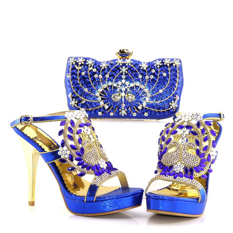 Latest Royal blue Italian Shoes with Matching Bags Rhinestone Wedding Shoes Italian Shoes and Bags To Match Shoes with Bag Set go games word search