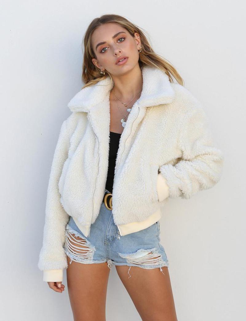 19 Winter arrival Women Cotton Fluffy Long Sleeve Jacket Ladies Warm Outerwear Cardigan Coat 9