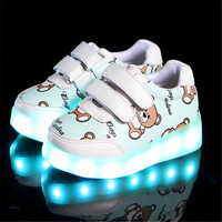 Xinfstreet Fashion luminous Sneakers Basket Kids Led Shoes With Lights up Baby Glowing Shoes For girls boys Size 22 30