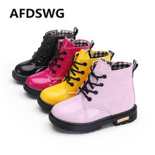 AFDSWG spring and autumn pink leather boots girls waterproof soft boys black children martin