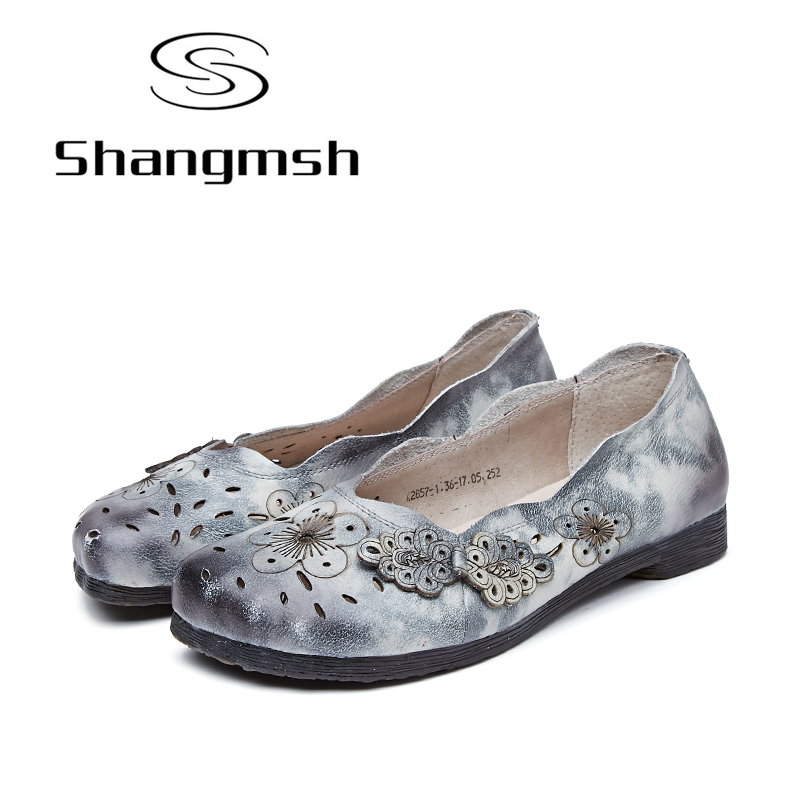 Shangmsh 2018 Women Casual Shoes Female Genuine Leather Loafers Gray Flower Round Toe Nurse Fashion Slip On Shallow Flats Shoes wolf who 2017 summer loafers cut out women genuine leather shoes slip on shoes for woman round toe nurse casual loafer moccasins