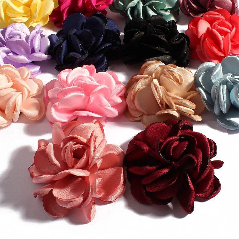 120 pz/lotto 6 cm 14 colori Vintage Bruciare Eage Capelli Rosa Fiori Per Accessori Bambini Artificiali Fiori di Stoffa Per Fasce