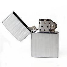 Free shipping Cigarette Accessories Copper material oil lighter Simple silver stripes Metal kerosene lighters