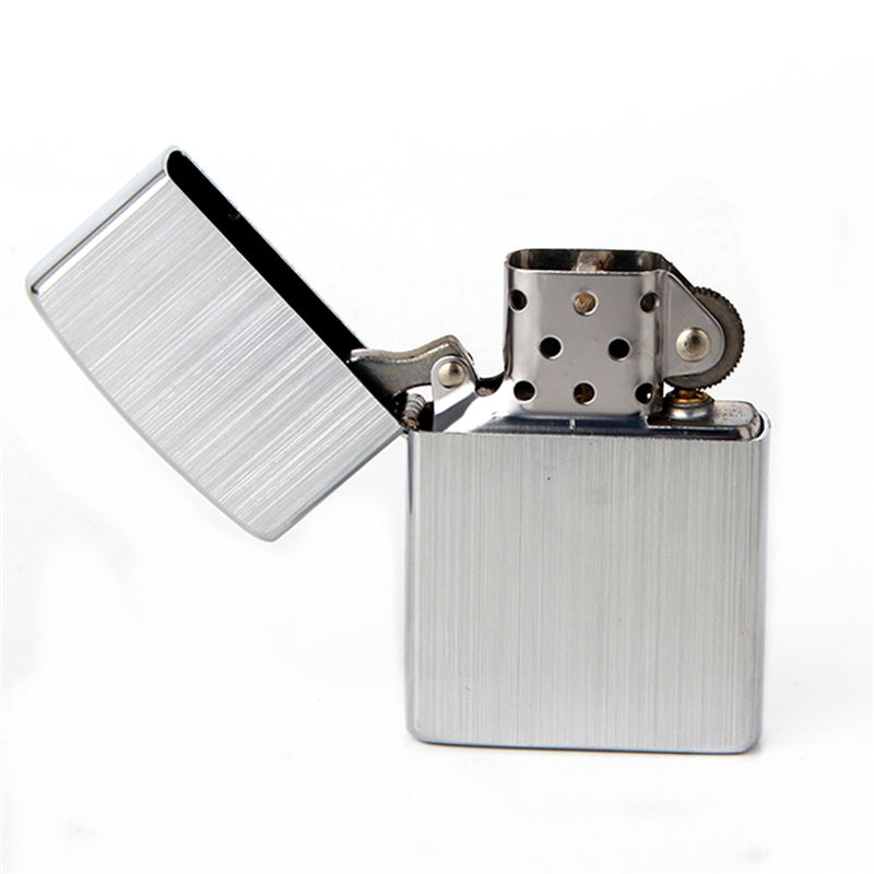 Free shipping Cigarette Accessories Copper material oil lighter Simple silver stripes Metal kerosene lighters