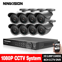 AHD 8CH CCTV 1080P HDMI DVR 2.0MP 3000TVL Открытый Всепогодный камера комплект домашней безопасности системы комплект видеонаблюдения 2 ТБ HDD