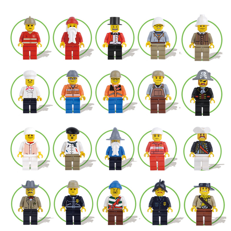 20pcs/lot City Engineer Christmas Model DIY Building Blocks Technic Mini Bricks Figures Funny Kid Toy For Children Gift