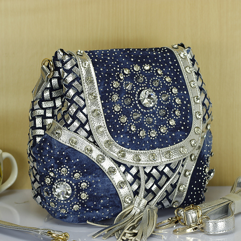 New Design Brand Elegant Rhinestone Fashion Women Shoulder Bag Jeans Casual Ladies Denim handbags female tote bags mochila aselnn 2017 women ripped jeans femme plus size vintage female 2017 ladies blue denim pants pencil casual brand fashion