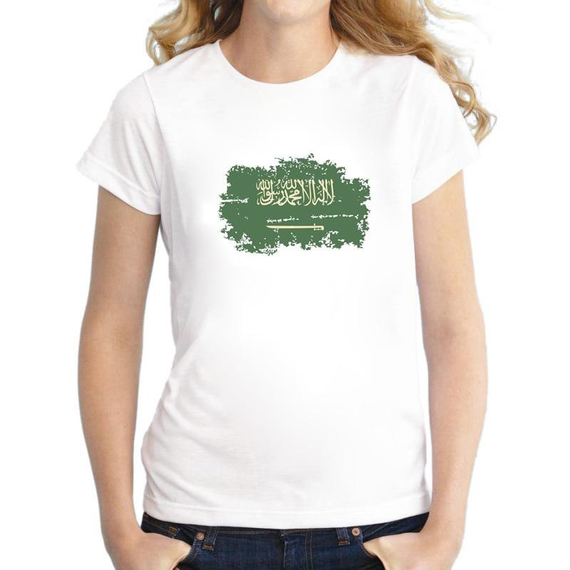 Nové letní Saúdská Arábie vlajka Bílé trička pro ženy Neformální Nostalgické Saúdská Arábie Vlajka Styl Rio Hry Fandit Ženy Topy & Trička