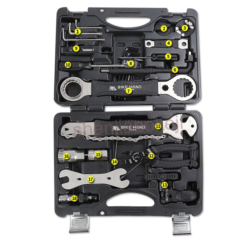 Fahrrad Reparatur Werkzeug Mountainbike Professionelle Werkzeug 22 teile/satz YC 721 Kit Reparatur Speichenschlüssel Freilauf Pedal Schlüssel - 4