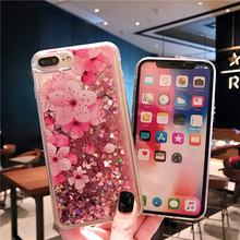 HOUSTMUST blossom case pink Phone Case For iphone X XR XSMAX Liquid Quicksand Cover 7 6S 8Plus Silicone