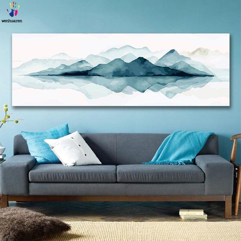 DIY Раскрашивание картины по номерам с цветами синие волны пейзаж Картина Рисунок Живопись по номерам оформлена дома