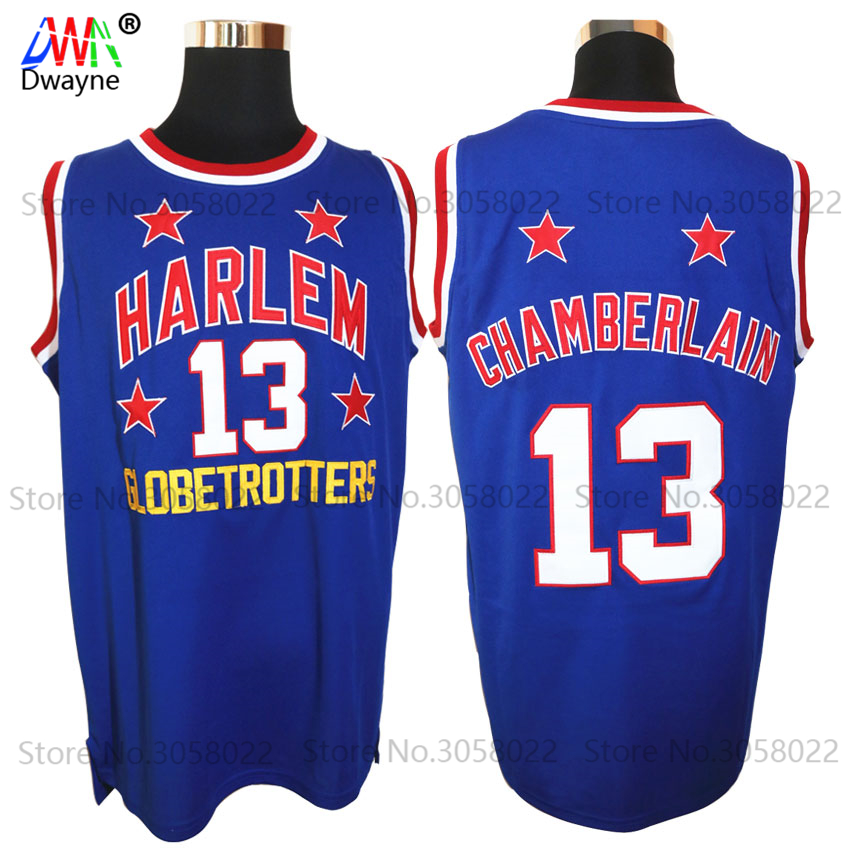 Mens #13 Wilt Chamberlain Harlem Globetrotters Cheap Throwback Basketball Jersey Retro Jerseys Vintage Basket Embroidery Shirt