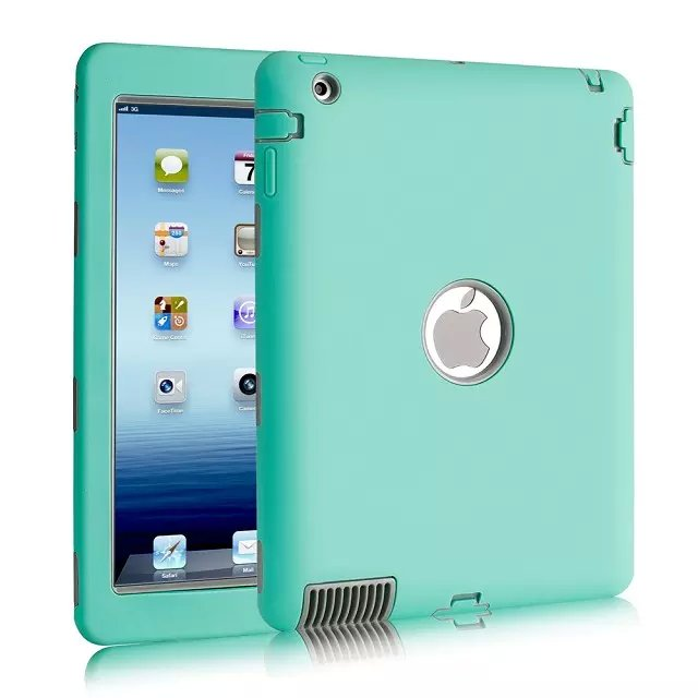 3In1 Heavy Armor Shockproof Silicone Cover Case For Ipad 2 Ipad 3 Ipad 4 Case A1460/1459/1458/1416/1430