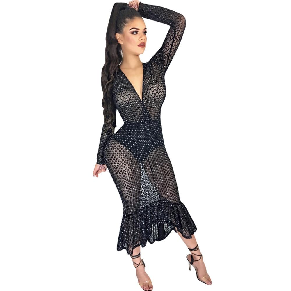 Women Sexy Fishnet Mesh Long Sleeve Knitted Crochet Dress Hollow Out Beach Tunics Swimsuit Dress See-through Wrap 2018 mesh see through cut out crochet tights