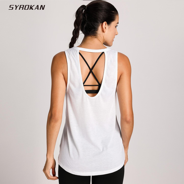 SYROKAN Women's Workout Top Sleeveless Active Cute Loose ...