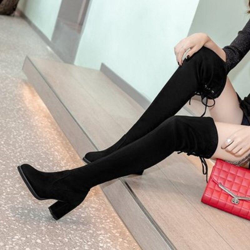 MoBeiNi automne et hiver nouvelles chaussures pour femmes tube long au-dessus des bottes au genou épaisses avec les bottes après que la jambe de laçage était mince