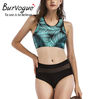 Burvogue High Waist Bikinis Women Summer 2018 Sexy Swimwear Printed Bathing Suit Brazilian Swimwear New Padded