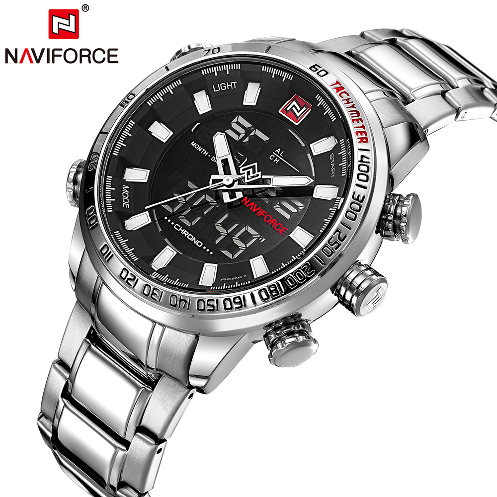 NAVIFORCE Luxury Brand Fashion Dual Display Digital Quartz Sports Men Watch Stainless Steel Luminous Chronograph Waterproof цена и фото
