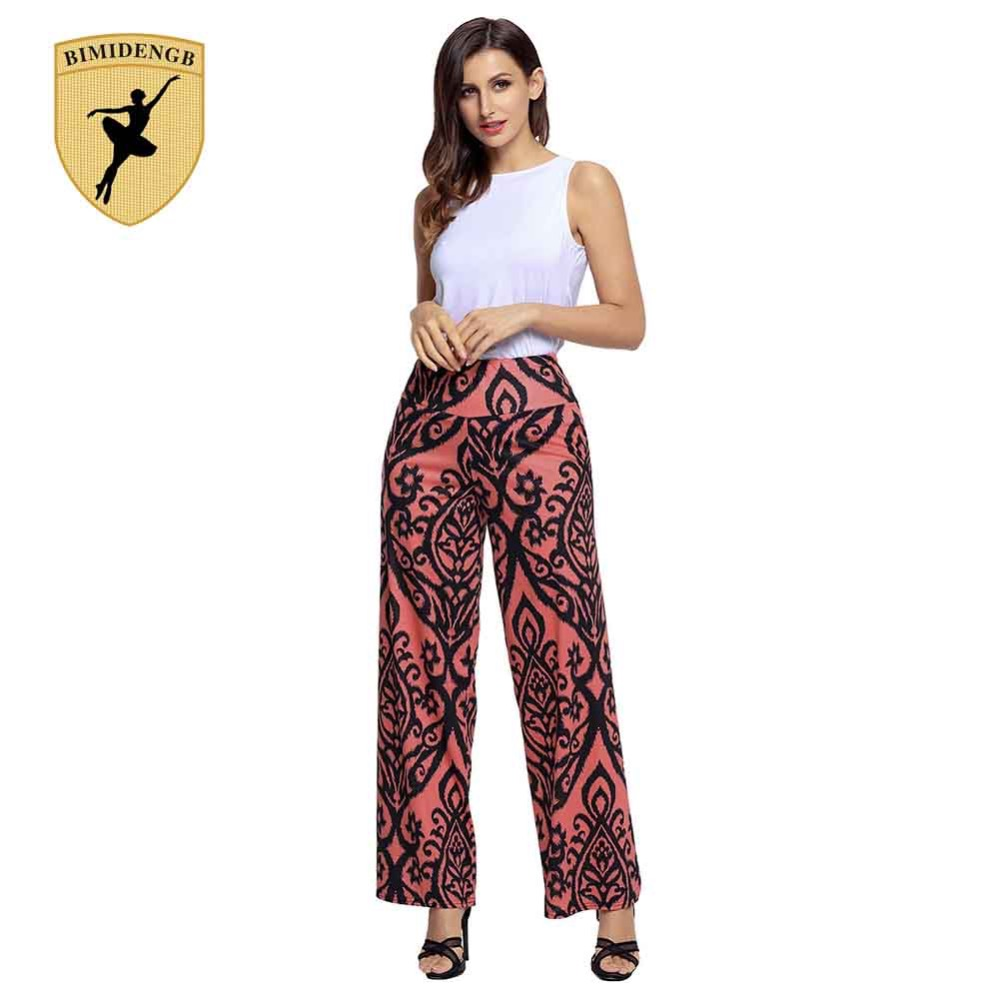 BIMIDENGB 2017 Hot New Fashion Wide Leg Pants Women High Waist Slim Female Trousers Red Printed Pleated Casual Pants Leggings