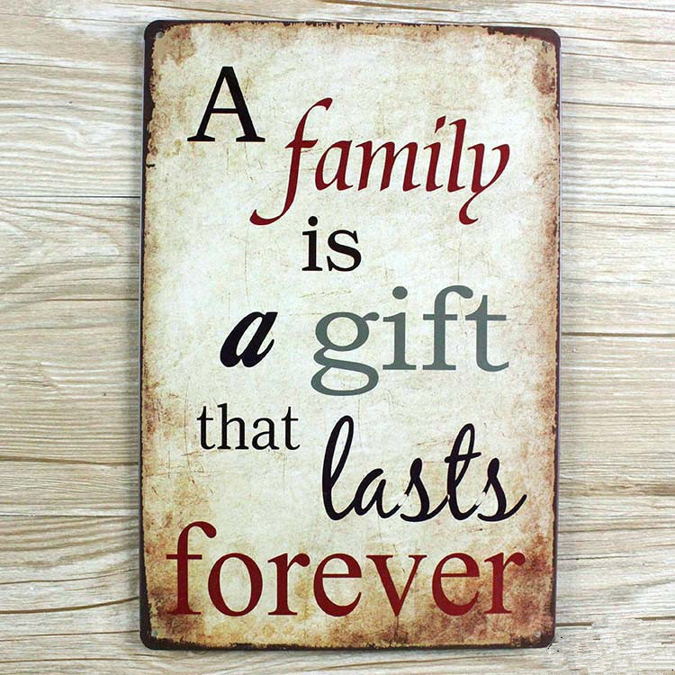 Wall Pictures New Tin Signs A Family Is A Gift That Lasts Forever Retro Decoration Cafe Bar Vintage Metal Painting 20x30cm
