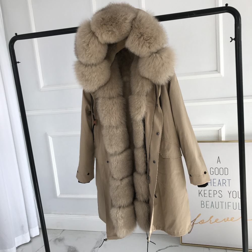 Women Winter Fox Fur Coat Real Fur Lined Parka Rabbit Fur Lined Coat Parka With Fur