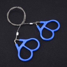 Bolsillo, Acero inoxidable sierras de alambre de cadena de mano herramientas de corte de supervivencia portátiles Camping handsiws azul 65cm