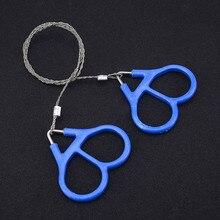 Scies à fil de poche portables en acier inoxydable, outils de coupe de survie, scies à main de Camping bleues 65cm