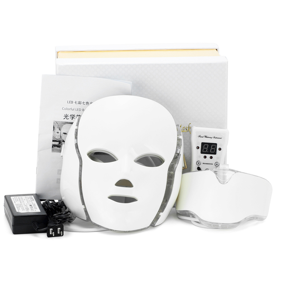 LED Facial Neck Mask With 7 Color Micro-current LED Photon Mask Remove Wrinkle Acne Skin Rejuvenation Face Beauty Machine