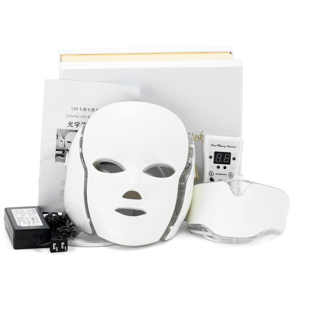LED Viso Collo Maschera Con 7 Colori Micro-corrente LED Photon Maschera Rimuovere Rughe Acne Ringiovanimento Della Pelle di Bellezza Viso macchina