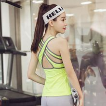 Women's Fitness Yoga Top Shirt with Padded Bra Fitness Clothing Workout for Women Gym Running Shirts Sports Tank Vest