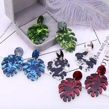 HOCOLE Fashion Acrylic Drop Earrings For Women Leopard Print Leaf Geometric Dangle Earring Acetate Brincos 2019 Jewelry Female