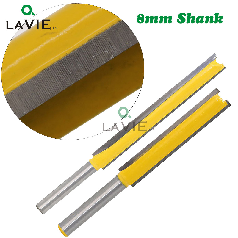LA VIE 8mm Shank 50mm Long Straight Router Bit 3/8