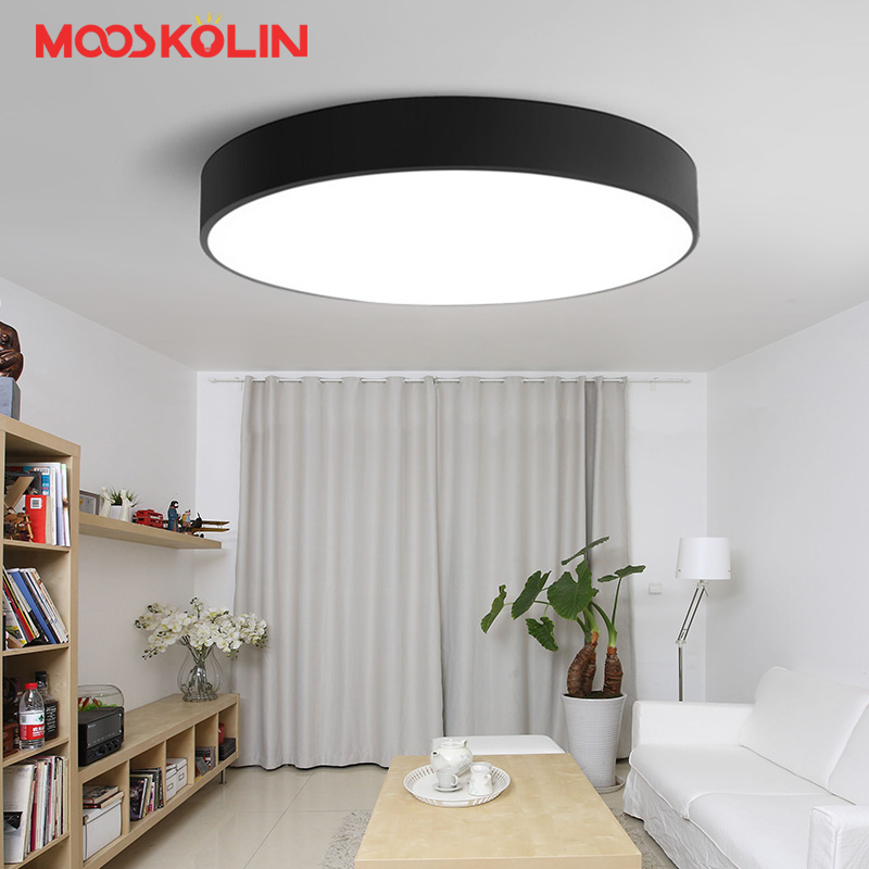 Mooskolin Modern Minimalism LED Ceiling Light Round Light Fixture Ceiling Lamp For Study Bedroom Balcony Lustres Black And White