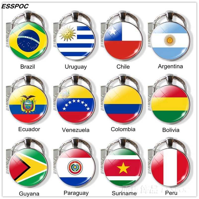 Südamerika Länder Flagge Schlüssel Kette Brasilien Chile Argentinien Peru Kolumbien Flagge Metall Keychain Tourist Ländern Souvenir Geschenke