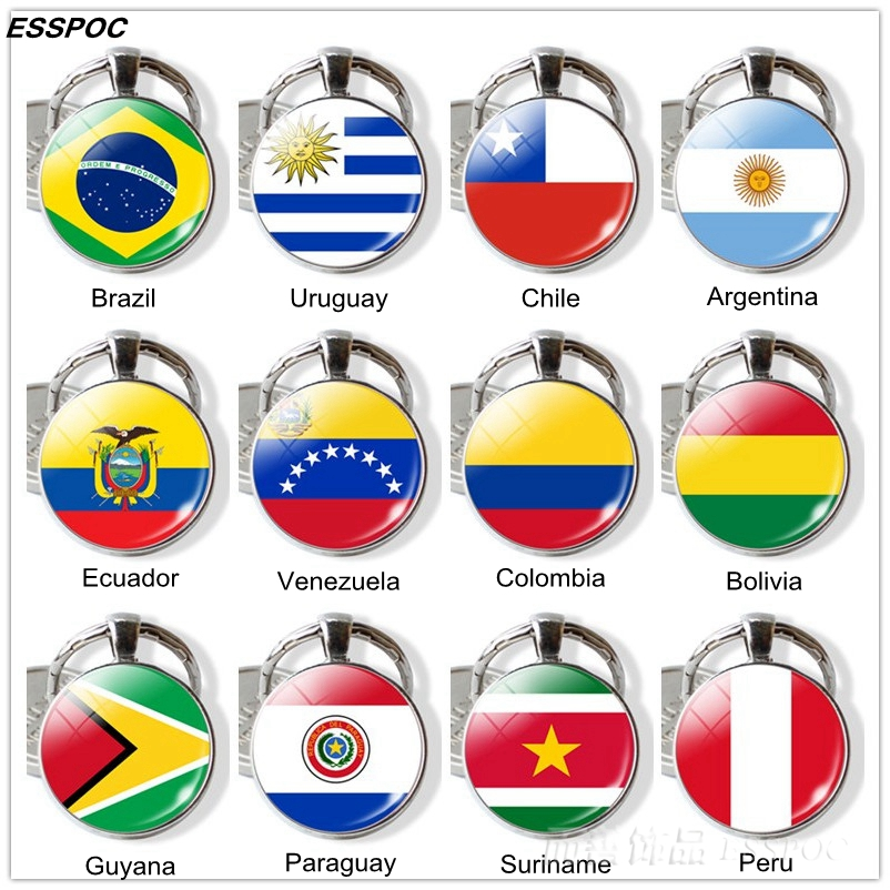 South America Countries Flag Key Chain Brazil Chile Argentina Peru Colombia Flag Metal Keychain Tourist Countries Souvenir Gifts