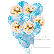 15PCS wedding background decoration products. Scrap paper latex  agate balloon combination suit, birthday party decoration,