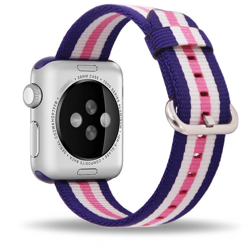 все цены на Band For Apple Watch Pink Stripes Woven Nylon Fabric Buckle Watchband 38mm 42mm Sport Strap For iWatch 2 Watches Accessories онлайн