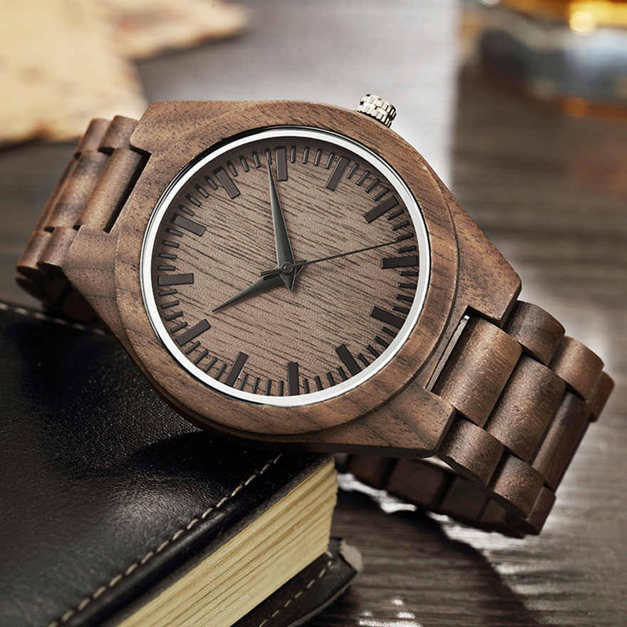 Natural Walnut Wood Watch Men Wooden Case Band Wristwatch Male Vintage Retro Brown Color Quartz Wrist Watches reloj de madera(China)