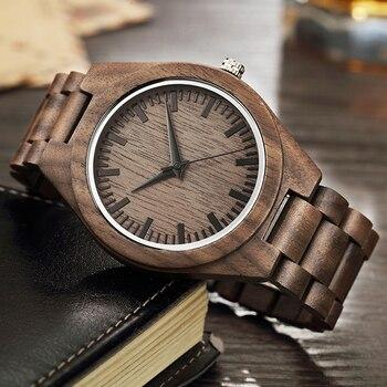 Natural nogueira relógio de madeira dos homens caso banda relógio de pulso masculino vintage retro marrom cor quartzo relógios de pulso reloj madera