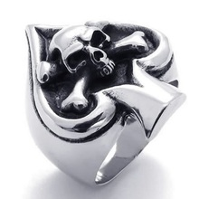 ФОТО vintage gothic skull biker tribe ace of spades stainless steel mens ring