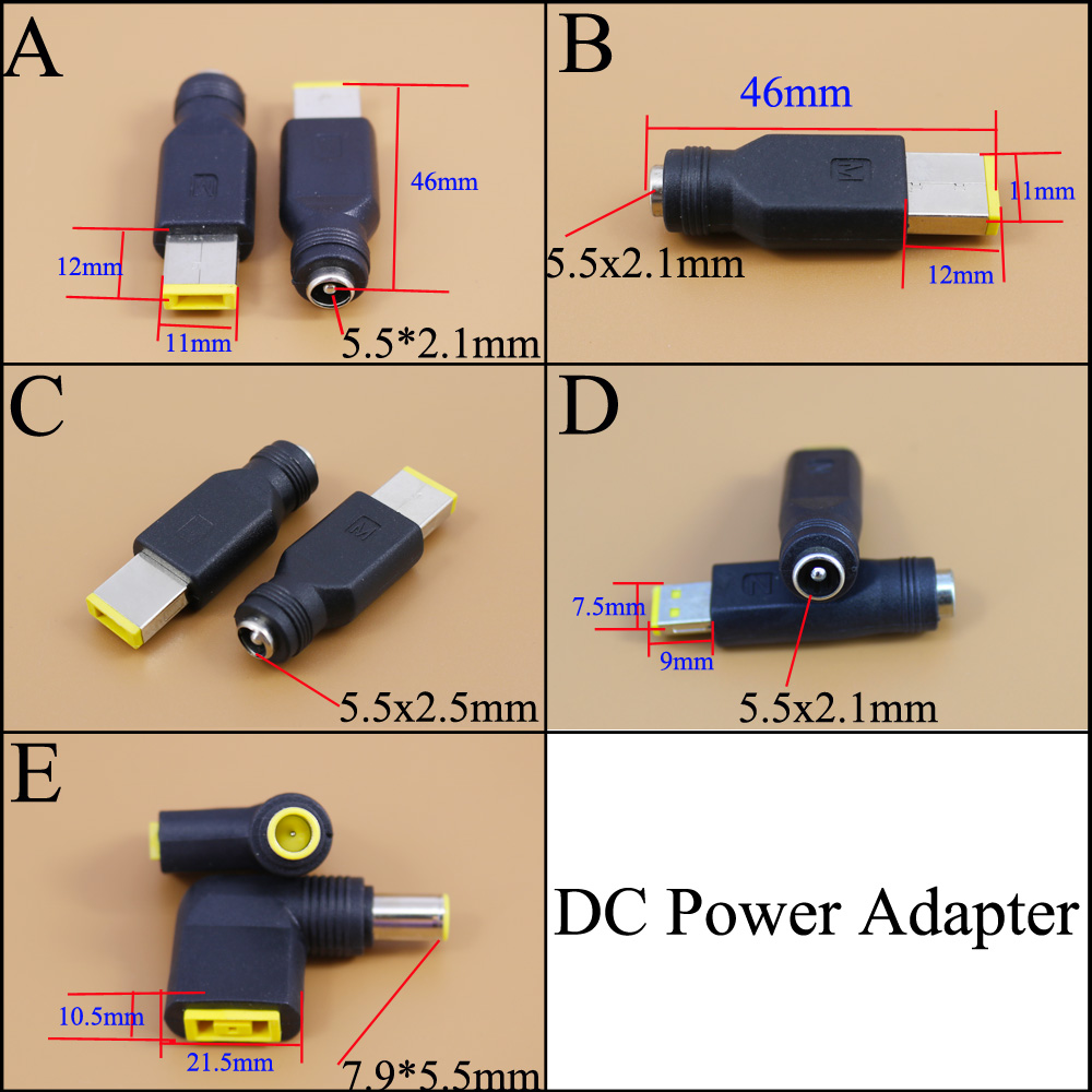 DC Power Adapter 7.9*5.5  5.5x2.1mm Female To Square Plug Connector For Lenovo Laptop Notebook PC For ThinkPad Ultrabook X230S