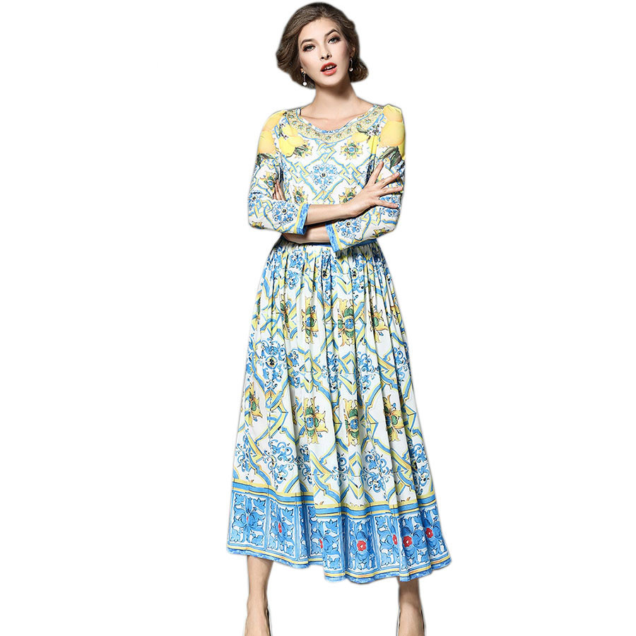 European Style Runway Vintage Dress Women 3 4 Sleeve Ethnic Floral Print Pleated Dresses Party