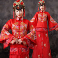 Chinese Style Red Wedding Dresses Women Bride Dress Chinese Folk Costume Female Tang Suit Tops + Skirt Chinese Movie Costume 16