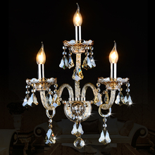 Lámpara de pared de Cristal de lujo de Estilo europeo Dormitorio Pared de la Cabecera de Pasillo Ktv Vela lámpara de pared cristalina K9 1/2/3 cabezas de luces de pared