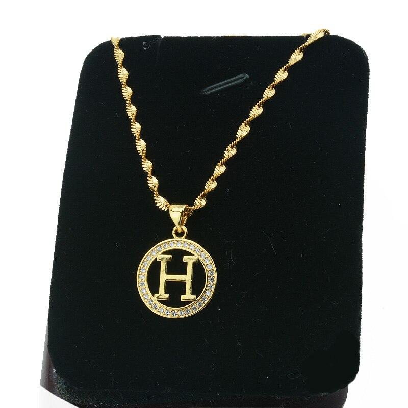 1pcs Men Womens Round Letter H Letter Pendant Gold Color Zircon Pendants  45cm Necklace Chains(