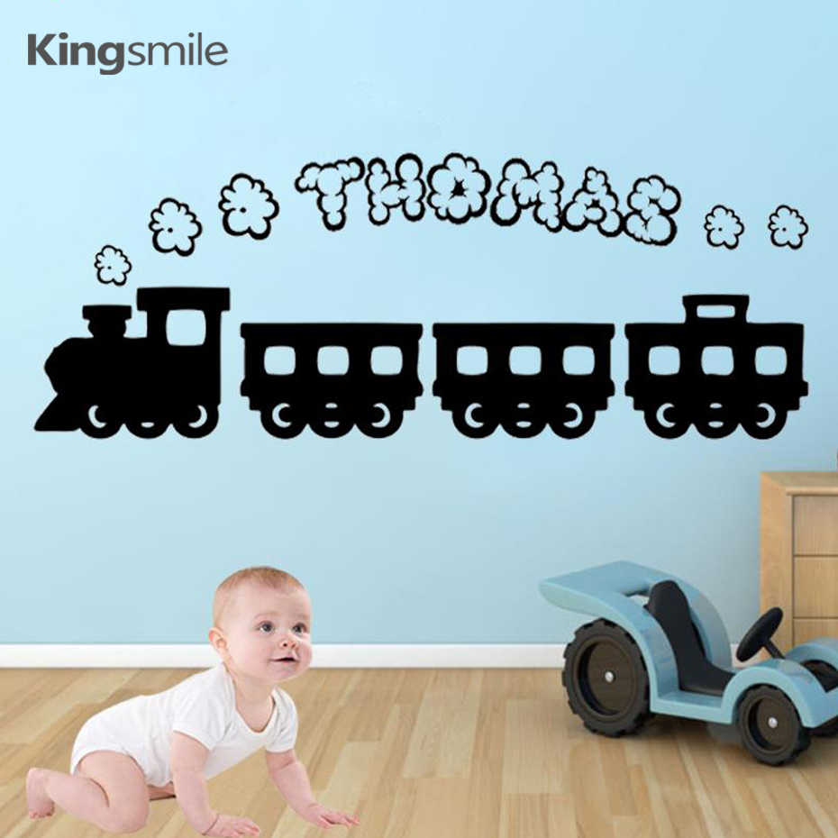 Cartoon Train Thomas Personalized Smoke Name Vinyl Wall Stickers Wallpapers Wall Decals Graphic for Boys Kids Rooms Home Decor
